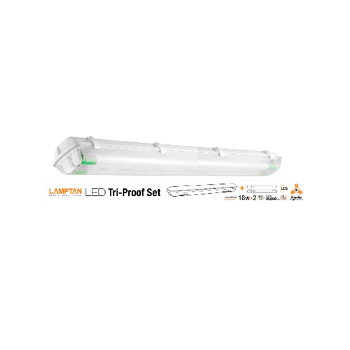 LAMPTAN โคมแอลอีดี  2x18วัตต์ ขั้วเขียว  Tri-proof สีขาว