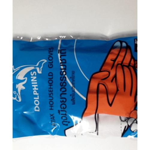 ปลาโลมา ถุงมือยาง HM-O-M สีส้ม