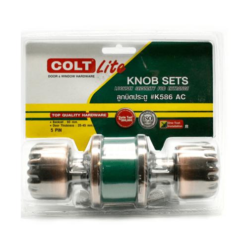 COLT ลูกบิดประตู   LITE K586 AC แผง สีน้ำตาลอ่อน
