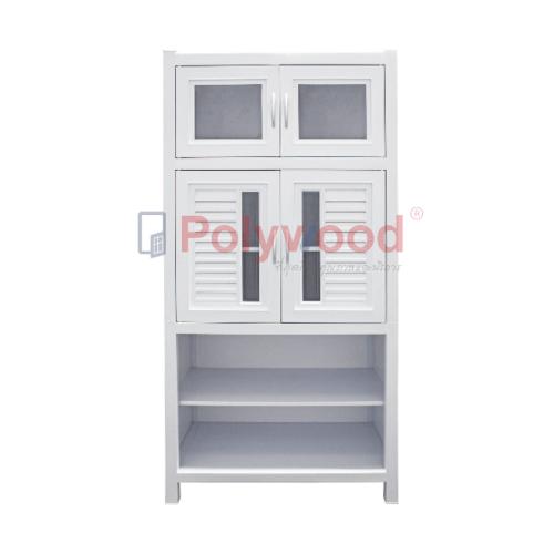 Polywood ตู้กับข้าว  2.5 ชั้น (1ตู้สั้น-1ตู้คู่-1ชั้นวาง) M-SERIES ABS Model 1-B  สีขาว