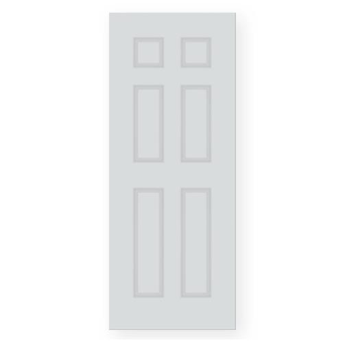 PEOPLE  ประตู UPVC 6ลูกฟัก มีลายไม้ในตัว  (ภายนอก) ขนาด70x200ซม.  (ไม่เจาะ) UN06 สีขาว