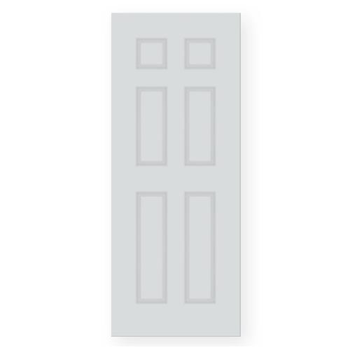 PEOPLE ประตู UPVC 6ลูกฟัก ขนาด 80x180 ซม.ลายไม้ในตัว ภายนอก(ไม่เจาะ)  UN06 สีขาว