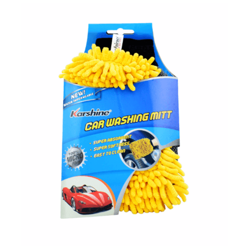 Karshine ถุงมือล้างรถไมโครไฟเบอร์ 100เปอร์เซ็นต์ Car Washing Mitt น้ำเงิน-เหลือง