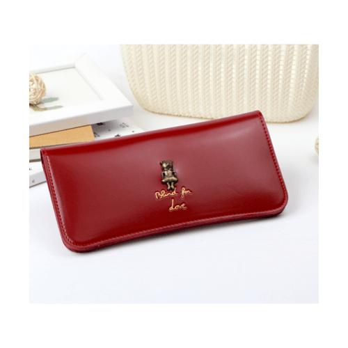 USUPSO  กระเป๋าหนังผู้หญิง แบบยาว  Vintage  สีแดง