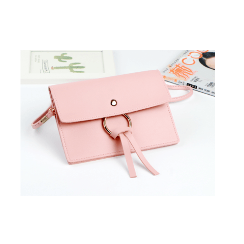 USUPSO  กระเป๋าใส่มือถือ  Simple ring Element  สีชมพู