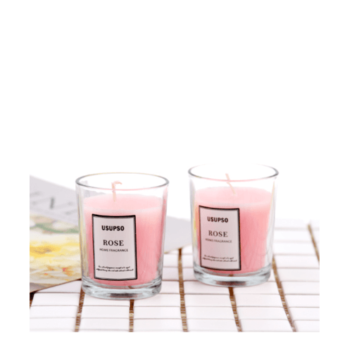 USUPSO เทียนหอมอโรม่า-Rose - สีชมพู