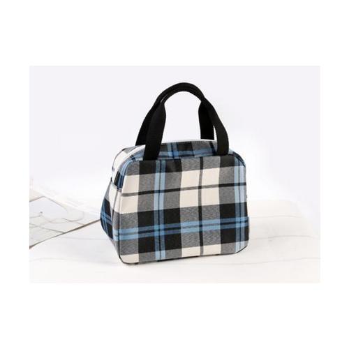 USUPSO  กระเป๋าผ้าดิบลายสก๊อต  - สีดำ