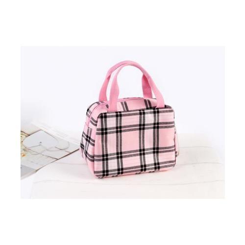 USUPSO กระเป๋าผ้าดิบลายสก๊อต (สีชมพู) - สีชมพู