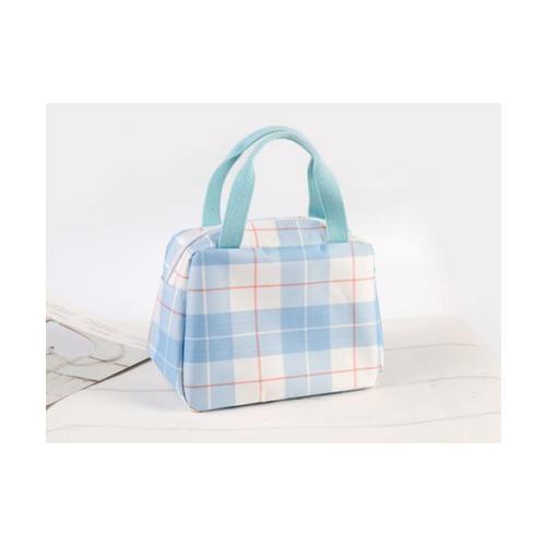 USUPSO กระเป๋าผ้าดิบลายสก๊อต สีฟ้า