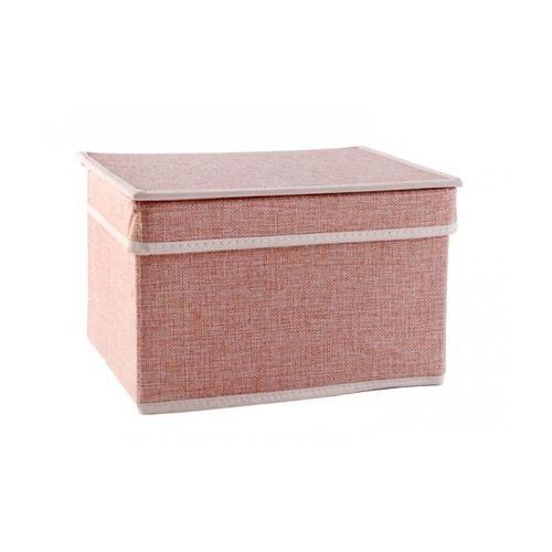 USUPSO กล่องเก็บของ  Simple linen สีชมพู - สีชมพู