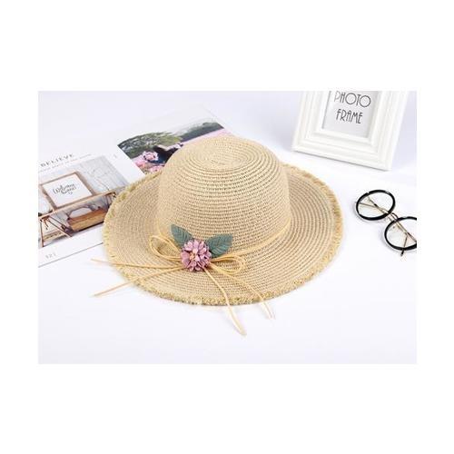 USUPSO หมวกปีก  flowers straw สีแอปปริค็อต สีเบจ