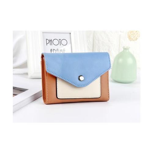 USUPSO USUPSO กระเป๋าเงินผู้หญิง สีฟ้า - สีน้ำตาลอ่อน