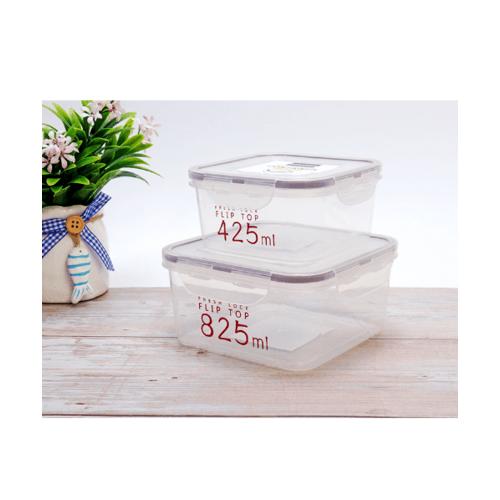 USUPSO กล่องถนอมอาหารฝาล็อค 2 ชิ้น ขนาด  350+970 มล.  สีขาว