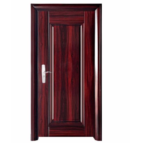 Wellingtan ชุดประตูเหล็กพร้อมวงกบ เปิดขวา เปิดเข้า ขนาด106x212x13ซม. หนา0.82  Hkai-C2R-in สีน้ำตาล