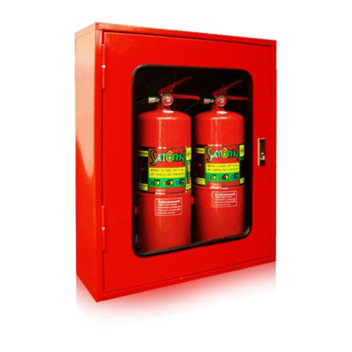 SATURN ตู้เก็บเครื่องดับเพลิงคู่ แบบลอย กระจกธรรมดา 60x20x70 cm. แดง