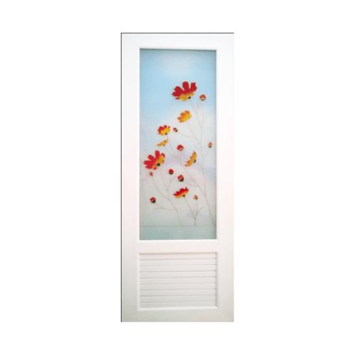 OK  ประตูยูพีวีซีกระจก ลายดอกหญ้า70x180ซม.  พร้อมวงกบ U18 สีขาว