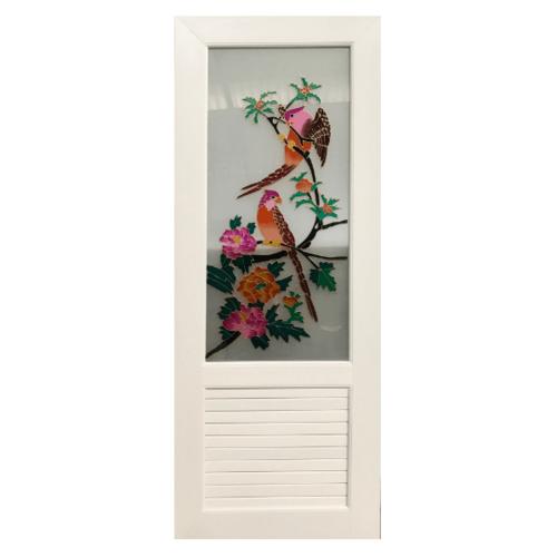 OK ประตูไวนิลกระจก ขนาด  70x180 ซม.  พร้อมวงกบ สีขาว