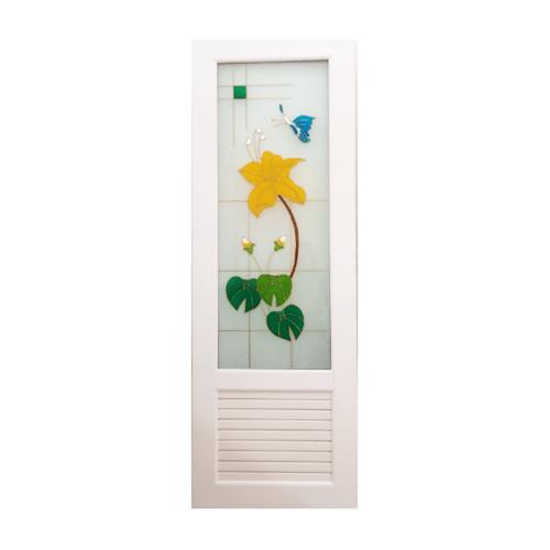 OK ประตูกระจกเพ้นลายดอกไม้เหลือง ขนาด 70x180 +วงกบ U07 สีขาว