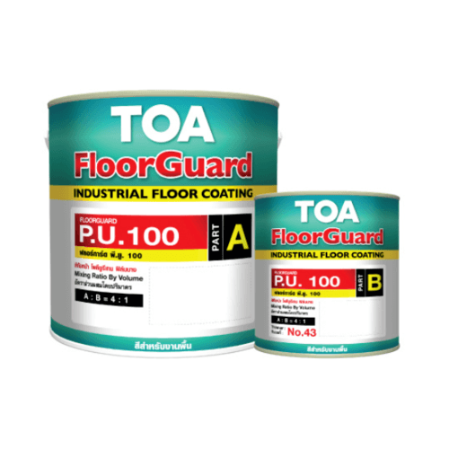 TOA HDC ฟลอร์การ์ด พียู 100 สีทับหน้า ส่วนเอ 1 กล #0100 สีอุตสาหกรรม สีเหลือง