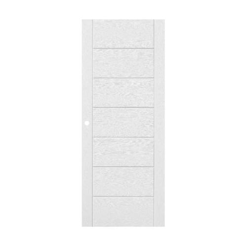 ECODOOR ประตูไฟเบอร์กลาส บานทึบเซาะร่องพร้อมวงกบ  ขนาด 80x200ซม.  (เจาะ) 9P สีขาว