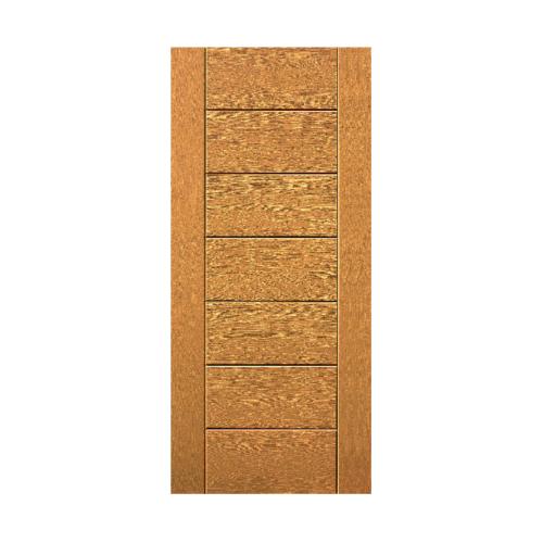 Eco door  ประตูไฟเบอร์กลาส บานทึบทำร่อง 9P  ขนาด  90x200ซม. สีสัก (ไม่เจาะ)
