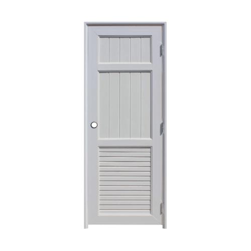 ECODOOR ชุดประตูยูพีวีซี ทำร่องพร้อมเกล็ดระบายอากาศ ขนาด 80x200ซม.  UB3 สีขาว
