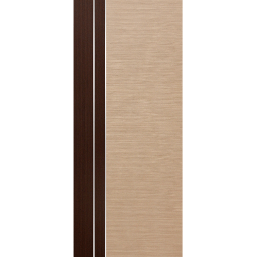 ECODOOR ประตู HDF ปิดผิวพีวีซีลายไม้เซาะร่อง 80x200cm.  PL3  สีครีม-โอ๊ค ไม่เจาะ