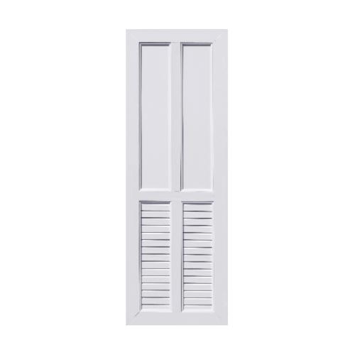 ECODOOR ประตู UPVC 2ฟักบน 2เกล็ดล่าง ขนาด 70cm.x200cm.  ไม่เจาะ  UB4 สีขาว
