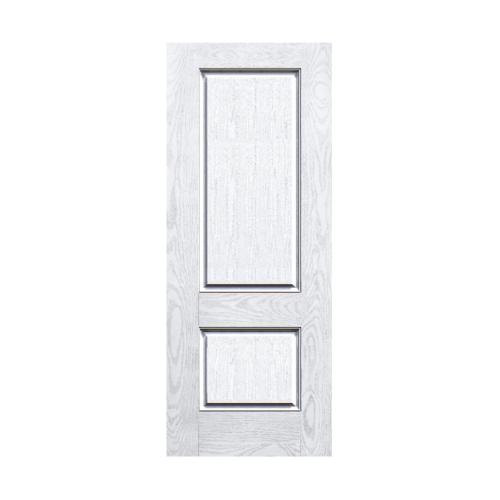 ECODOOR ประตูไฟเบอร์กลาส 2ฟัก  ขนาด 80cm.x200cm.ไม่เจาะ  2PT สีขาว