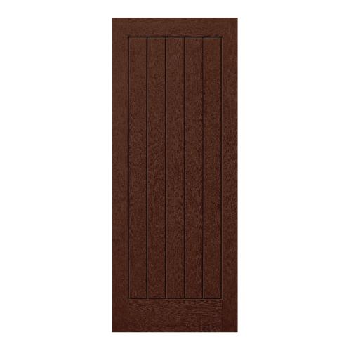 Eco door ประตูไฟเบอร์กลาสขนาด  80cm.x200cm. สีโอ๊ค ไม่เจาะ  5P
