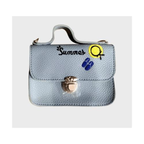 USUPSO กระเป๋าสะพายปักอักษร สีน้ำเงิน