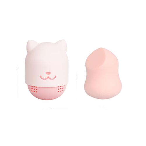 USUPSO ฟองน้ำแต่งหน้าพร้อมกล่องเก็บลายแมว - สีชมพู