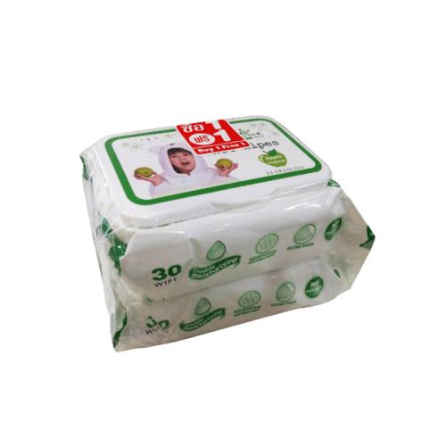 - ผ้าเปียก 30 แผ่น กลิ่นแอปเปิ้ล (1แถม1) เฟรชพลัส TS-S-002