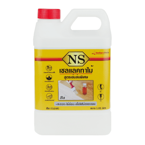 NORTHERNSHELLAC เชลแลคทาไม้ NS สีใส 1.85 ลิตร สูตรเข้มข้นพิเศษ สีเหลือง
