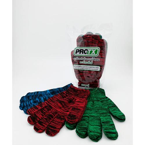 Protx ถุงมือทอใยสังเคราะห์สีผสม 300 กรัม/โหล (1x6คู่) -