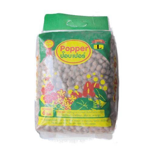 Popper  เม็ดดินเผามวลเบา ไซส์ L ขนาด  6 ลิตร น้ำตาล