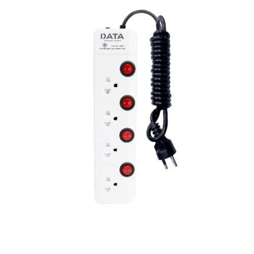 DATA รางปลั๊กไฟ มอก. 4 ช่อง 4 สวิตซ์    5 เมตร  สีขาว HM4496M5W สีขาว