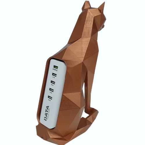 DATA  แท่นวางปลั๊กเซรามิก USB 5 ช่อง 1.2m 5V/3A รูปแมว สีทองแดง THE CAT USB 5 ช่อง