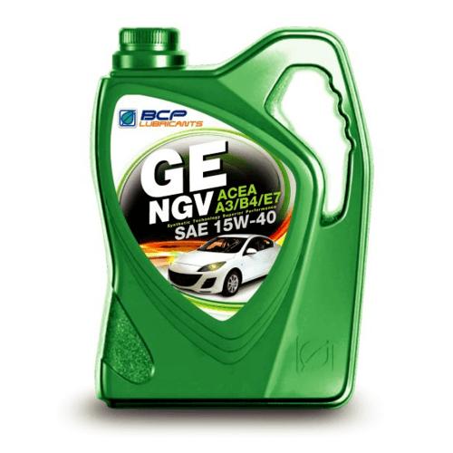 bangchak น้ำมันหล่อลื่นเบนซินกึ่งสังเคราะห์ที่ดัดแปลงมาใช้ก๊าซธรรมชาติ (NGV) GE NGV ACEA A3/B4/E7 15W40 4/4+1L  สีเขียว