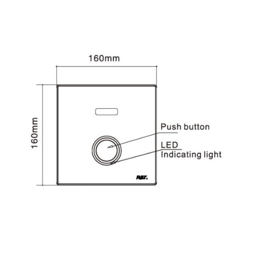 R&T ฟลัชวาล์วอัตโนมัติโถสุขภัณฑ์ชนิดฝังผนังพร้อมปุ่มกด LED D6000