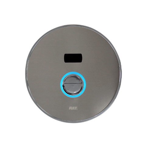 R&T ฟลัชวาล์วอัตโนมัติโถสุขภัณฑ์ชนิดฝังผนังพร้อมปุ่มกด LED  D6003-D