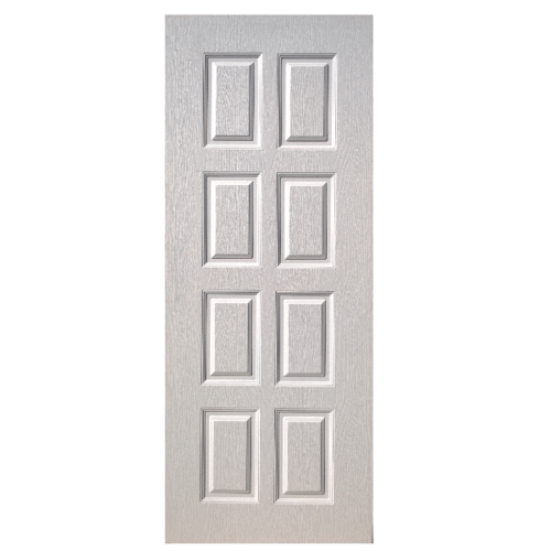 BWOOD  ประตูยูพีวีซี บานทึบ 8ฟัก Eco-series ขนาด 80x200ซม. ไม่เจาะ BEN003 สีขาว
