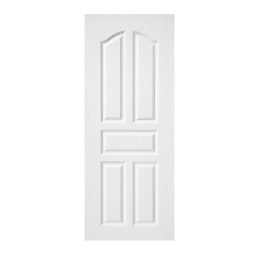 BWOOD  ประตูยูพีวีซี บานทึบ 5ฟักปีกนก (ผิว REVO) Eco series ขนาด80x200ซม.  (เจาะ) BENR001  สีขาว