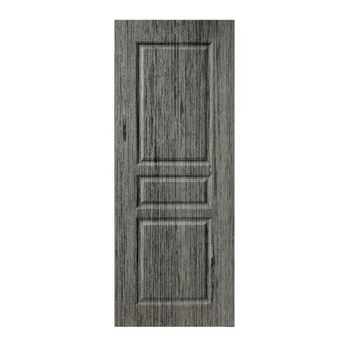 BWOOD  ประตูยูพีวีซี บานทึบลูกฟัก Eco series ขนาด 70x200ซม. GREY OAK (เจาะ)  LBENR002 ผิว REVO สีเทา