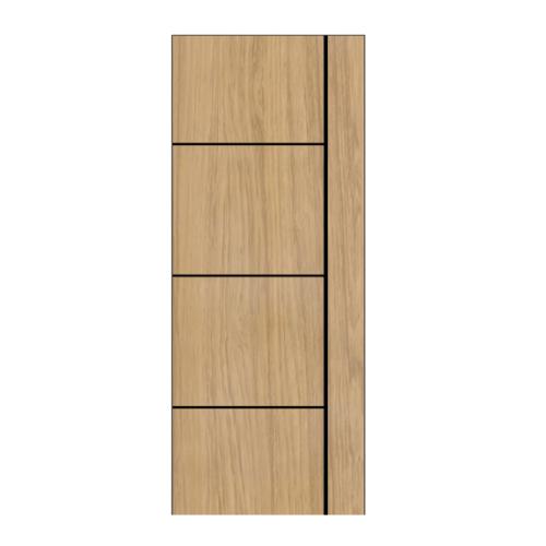 BWOOD ประตู Laminate VINYL ขนาด 90x200ซม. Tan Maple เซาะร่องเส้นดำ เจาะ  LBNMR003 ผิว REVO