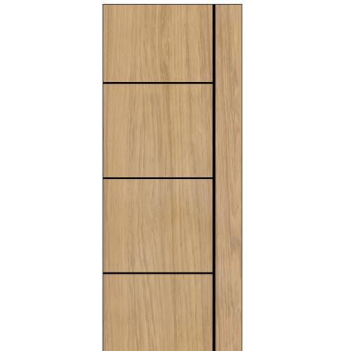 BWOOD ประตู Laminate VINYL ขนาด 70x200 ซม. เซาะร่องเส้นดำ  ไม่เจาะ  LBNMR003 ผิว REVO Tan Maple