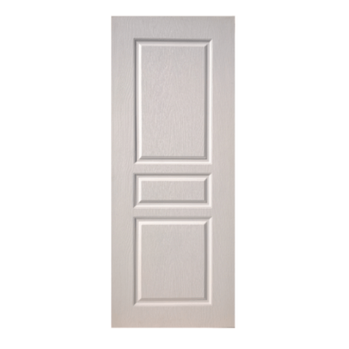 BWOOD  ประตู VINYL บานทึบ 3ลูกฟักEco series  80x200ซม. (เจาะ) BENR002 REVO   สีขาว