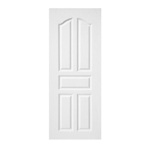 BWOOD  ประตูปิดผิว VINYL บานทึบ 5ฟักปีกนก Bwood Eco series ขนาด 90x200ซม.(ไม่เจาะ) BENR001 REVO  สีขาว