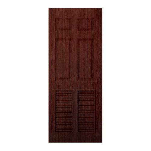 BWOOD  ประตู VINYL ลูกฟักพร้อมเกล็ดระบายอากาศ Bwood Eco series ขนาด 80x200ซม. RED CHERRY (เจาะ)  LBELR006  REVO  สีแดง