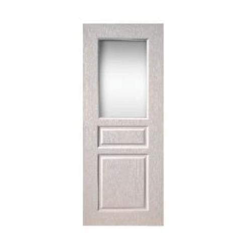 BWOOD  ประตู VINYL ลูกฟักพร้อมกระจก Bwood Eco series ขนาด  80x200ซม.  (เจาะ)  BEGR002  REVO    สีขาว